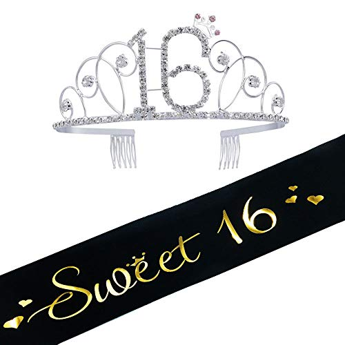 16th Birthday Tiara and Sash, Glitter Satin Sash