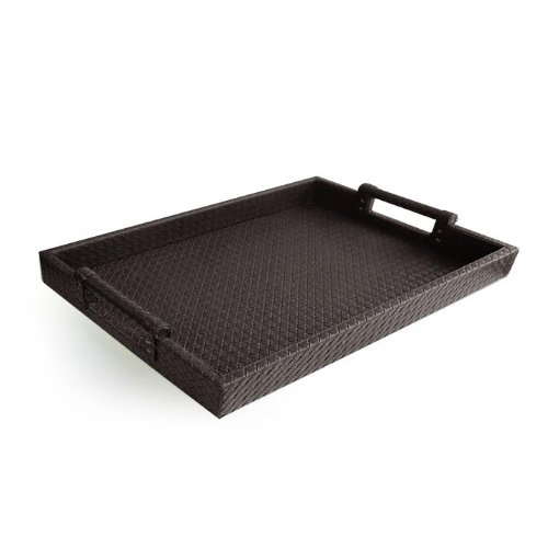 Rectangular Handled Tray - American Atelier Leather Serving Tray with Handles, 14 by 19-Inch, Brown