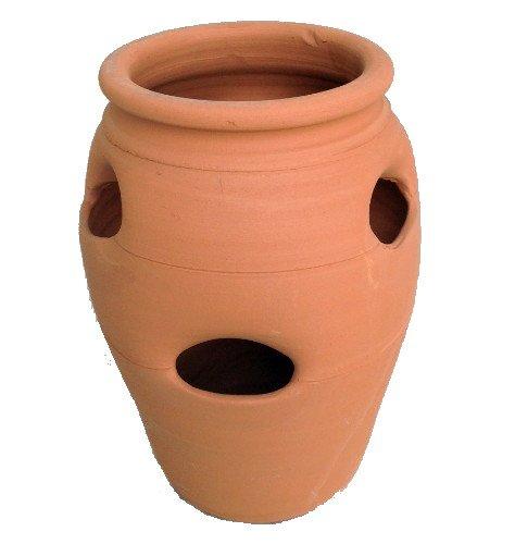 (Standard Strawberry Pot - Herb Jar - Terracotta - 6 Pocket - 2 Gallon - 7