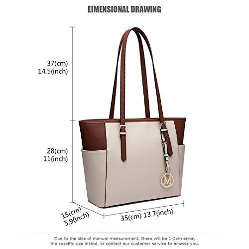Miss Lulu Designer-Damen-Handtasche, Leder, Handtasche, Umhängetasche LM1642-1 Beige / Braun