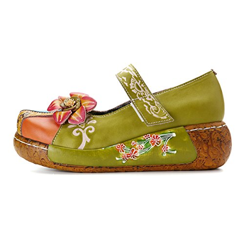 gracosy Wedges Sandals,Women's Leather Handmade Colorful Flower Vintage Slip-on Shoes Platform Sandals Green