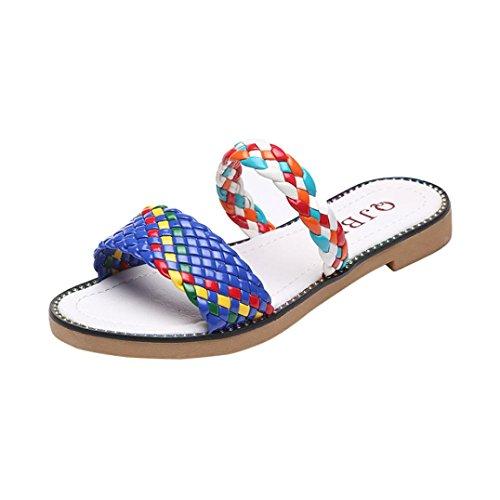 DDLBiz Women Boho Colorful Wave Flat Thong Flip Flops Beach Slippers Shoes (US:6.5(9.3''-9.5