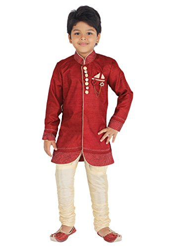 Ahhaaaa Kids Ethnic Indian Festive and Party Wear Sherwani and Breeches Set for Boys Maroon