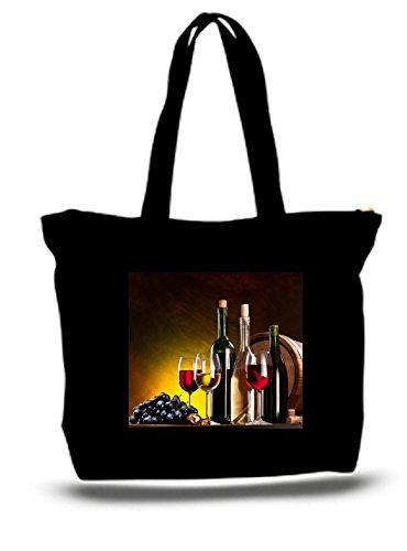 XXL 23 x 17 x 5キャンバスコットントートバッグStill Life withワインボトル、眼鏡、オーク樽。 B07665SLDR