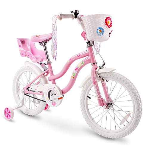 (COEWSKE Kid's Bike Steel Frame Children Bicycle Little Princess Style 14-16 Inch with Training Wheel (Pink, 18 Inch))
