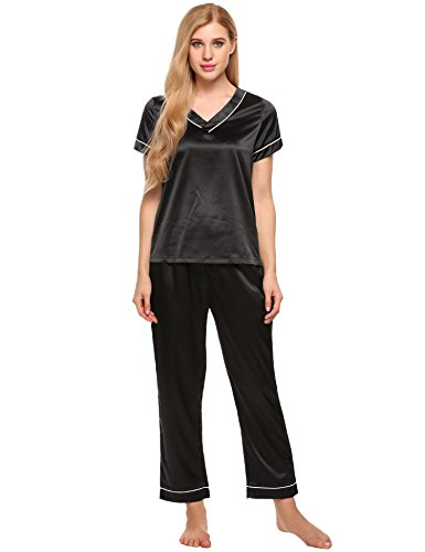 Ekouaer Womens Satin Pajama Set Classic Piping PJS Sets Long Pants Sleepwear (94-Black, M) (Black Pajamas Sleeve Short)