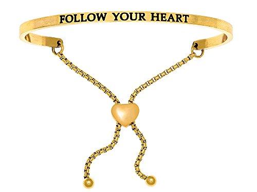 """Intuition en acier inoxydable Finition jaune """"Follow Your Heart"""" réglable Bracelet de l'amitié"""
