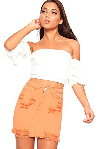 WearAll Femmes Ripped Afflig Court Bouton Poche Dames Toile De Jean Mini Jupe - 34-44 Orange