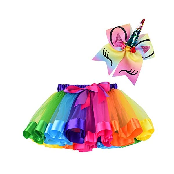 BGFKS Layered Ballet Tulle Rainbow Tutu Skirt for Little Girls Dress Up with Matching Sparkly Unicorn Hairbow 3