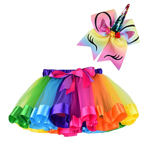 BGFKS Layered Ballet Tulle Rainbow Tutu Skirt for Little Girls Dress Up with Matching Sparkly Unicorn Hairbow (Rainbow, M,2-4 Years)