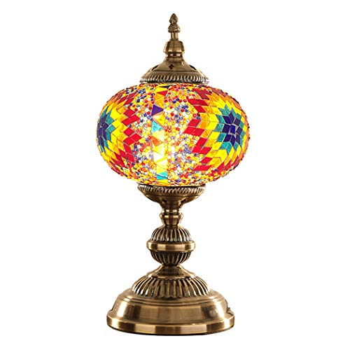 (Turkish Mosaic Glass Table Lamp Handmade Moroccan Lantern Tiffany Style Stained Glass Desk Night Lights with Zinc Alloy Base,3718cm 220V,D)