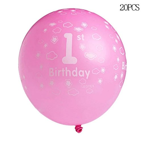 20pcs Printed Ballons First Birthday Party Decor (Blue) - 3
