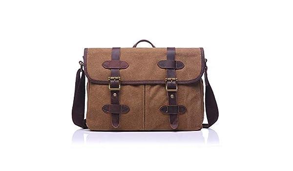 cb117b26be ... Canvas Briefcase Leather Handbag Tote Endland Style Men Messenger Bags  Shoulder Laptop Bag Military Leisure bag Color camel  Amazon.com.au  Fashion
