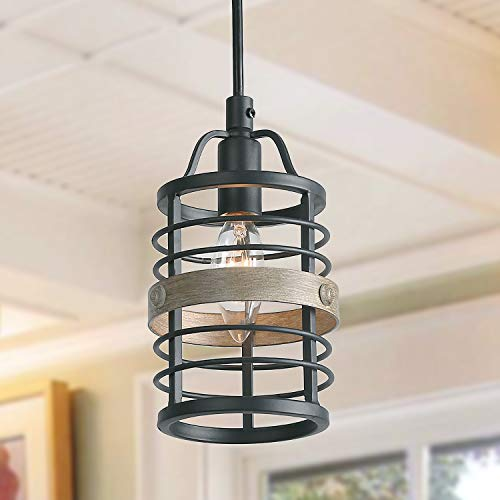 Transitional Distressed Black Chandelier - LNC Faux-Wood Bond Pendant Lighting, 1 Light Heavy Duty Pendant Lights, Dimmable and Height Adjustable Small Cage Lighting Fixture