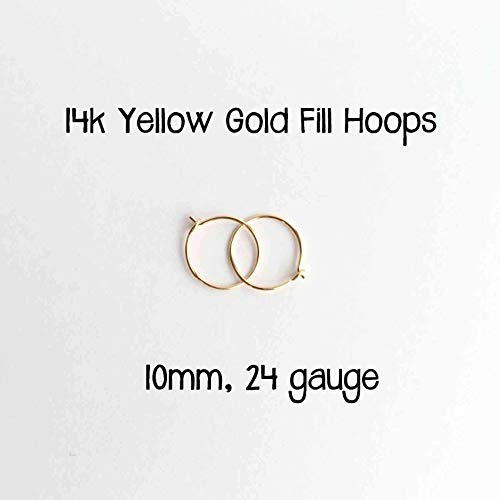 Little Gold Hoops 10mm 24 Gauge 14k Yellow Gold Fill Earrings Made by hand 14k Gold Fill Earrings