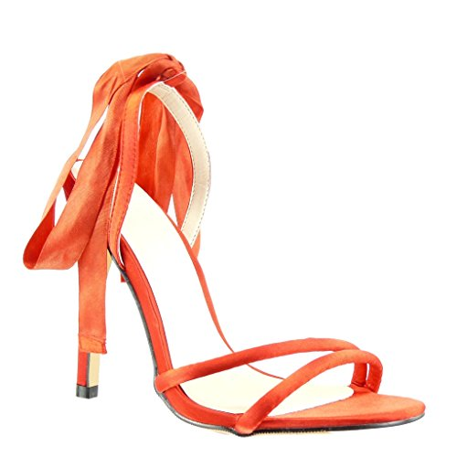 Angkorly Damen Schuhe Pumpe Sandalen - Stiletto - Sexy - Schick - Knoten Stiletto High Heel 11 cm Rot
