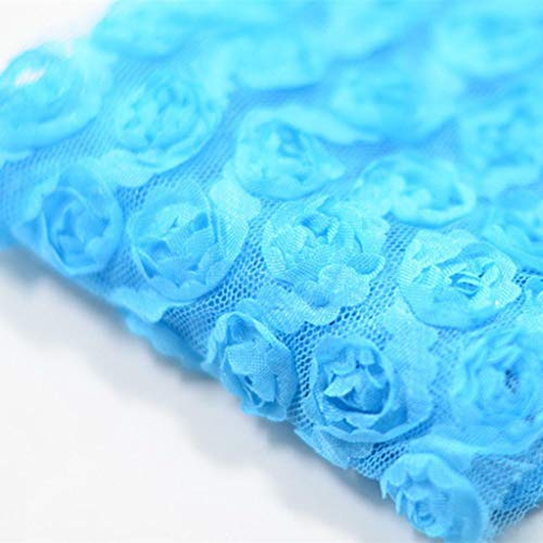 3 Yards 6-Rows 3D Chiffon Rose Flower Lace Trim DIY Sewing Craft Fabric Decor (Color - Blue)