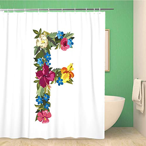 Topyee Shower Curtain F Letter Flower Capital Alphabet Colorful Font Uppercase Grotesque Style Floral 72x78 Inches Waterproof Polyester Bathroom Decor Curtain Set with Hooks (Shower Curtain With Letter F)