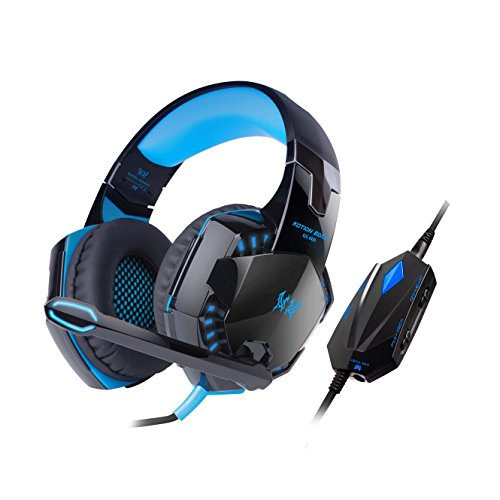 Kotion Each GS600 Over Ear Gaming Headphones with Mic for PC, PS4, PS3, Xbox360 (Black/Blue)