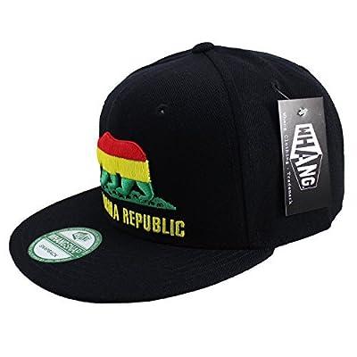 California Republic CALI Snapback Flat Bill Baseball Caps Hats Rasta Bear Black Black