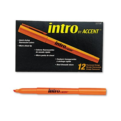 - Paper Mate Accent Intro Highlighter - Marker Point Style: Micro Chisel - Ink Color: Fluorescent Orange - Barrel Color: Orange - 12 / Dozen