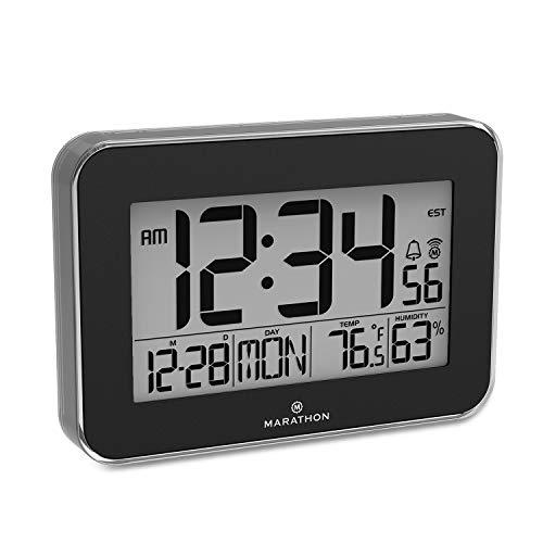 Marathon CL030060BK Designer Atomic Wall Clock with Polished Acrylic Bezel. Displays Calendar, Indoor Temperature and Humidity. (Black)