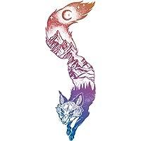 Mountain Forest Landscape Pen Art in Fox Silhouette - Rainbow Ombre Vinyl Decal Sticker