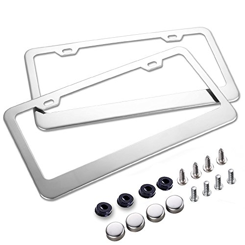 Car License Plate Frame - Chrome Stainless Steel Polish Mirror Covers with Screws Fasteners & Screw Caps (2 - Mirror Steel Stainless Polish