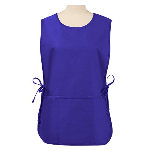 (VEEYOO Chef Cobbler Apron with 3 Pockets, Polyester Cotton, Art Smock Aprons for Unisex Adult Men Women, Royal Blue, 20x28 inches)