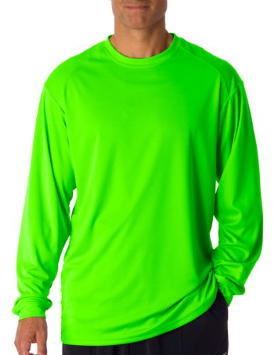 (Badger T shirt 4104 Blank Men's B-Core Long-Sleeve Performance Tee Lime XL)