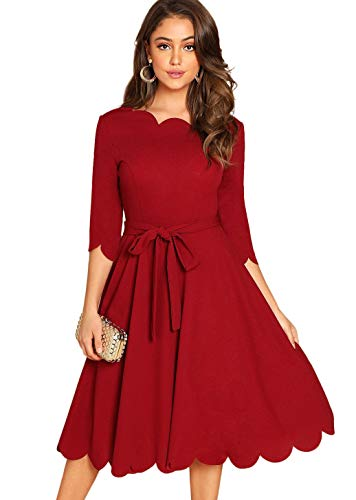 Milumia Women's 3/4 Sleeve Belted Fit & Flare Scallop Party Cocktail Dress