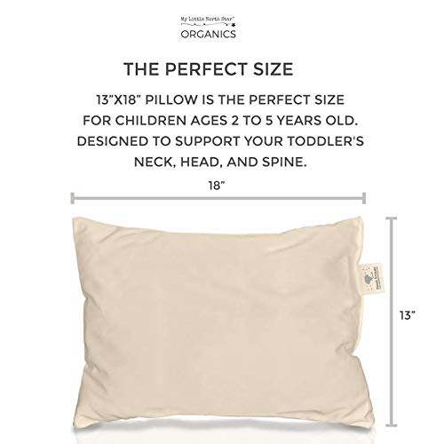 My Little North Star Toddler Pillow - Organic Cotton Made in USA - Washable Unisex Kids Pillow - 13X18