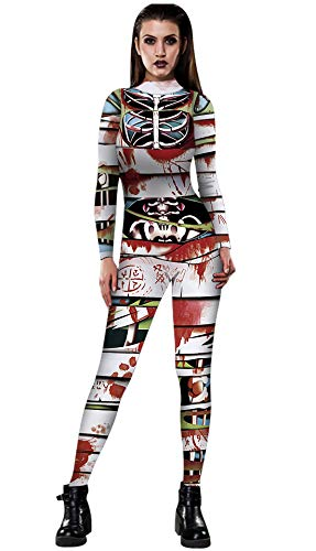 URVIP Women Halloween Skeleton Costume Stretch Skinny Catsuit Jumpsuit Bodysuit BAX-023 S]()