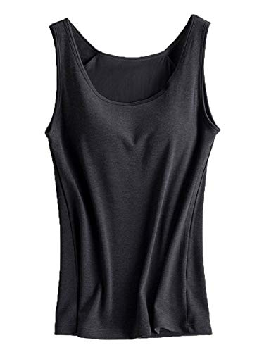 Lined Silk Camisole - Women's Stretch Built in Bra Yoga Active Fleece Lined Thermal Winter Camisole Black 'N Gray US-2/4