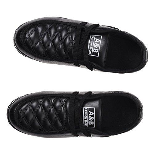 Zapatos de deporte - SODIAL(R) zapatos deportivos ocasionales y impermeable de cuero de moda para hombres(Por favor seleccione 0.5 tamano mas grande!) botas cortas y termicas de nieve negro 9.5