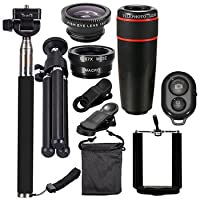 8x Telephoto Lens - Cell Camera Lens - 10 in 1 Smartphone Camera Lens Cell with Clip Universal Optical Telescope Kit Mobile Zoom ( Telescope Optics Kit )