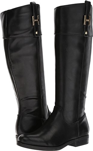 Tommy Hilfiger Women's SHYENNE Equestrian Boot, Black, 7.5 Medium US