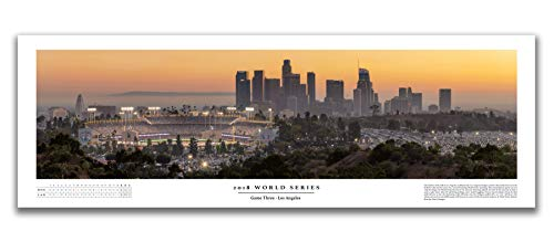 Chris Fabregas Fine Art Photography Dodger Stadium 2018 World Series Historic Game Three Panoramic Poster with Boxscore