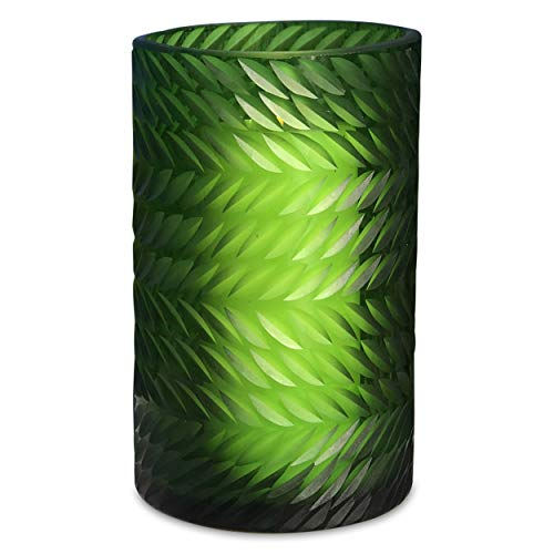 Whole House Worlds The Naturally Modern Flower Petal Hurricane Candle Holder Vase, Art Glass, Green, Translucent, Incised Textured Glass, Herringbone Pattern, 8 H inches Tall