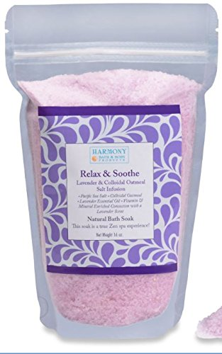Best Lavender Oatmeal - Best Bath Salt - Relax & Soothe Infusion - The Most Amazing Bath Soak! Balances and Relaxes the Body and Spirit… Can Also Be Used As a Foot Soak or a Face/body Scrub - 16 Oz ()