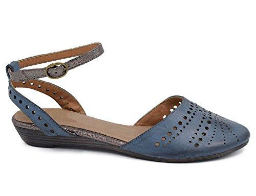a Cu Azul de Tira Trasera Mujer Hebilla azul con Sandalias Baja para y Greatonu qtp7EwfRx
