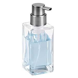 mDesign Dispensador de espuma – Elegante dosificador de jabón en espuma de cristal – Dosificador de baño ideal como dispensador de jabón líquido – transparente/negro