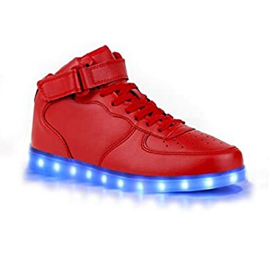 SAGUARO 8 Colors LED Light-Up Couple Women's Men's Sport Shoes High Top Sneakers USB Charging for Valentine's Day Christmas Halloween