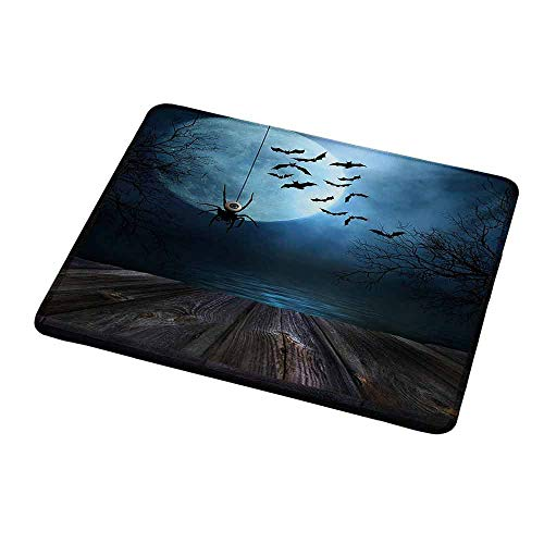 Mouse Pad Custom Halloween,Misty Lake Scene Rusty Wooden Deck Spider Eyeball and Bats with Ominous Skyline,Blue Brown,Personalized Design Non-Slip Rubber Mouse pad 9.8