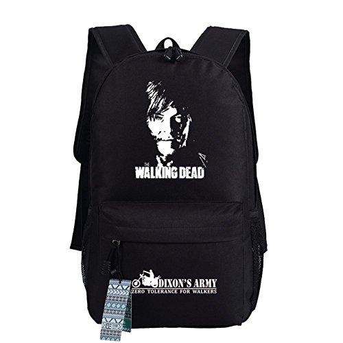 The Walking Dead Cosplay beiläufige Beutel-Rucksack-Schultasche-leuchtende Tasche 18 Wahlen Schwarzer Daryl