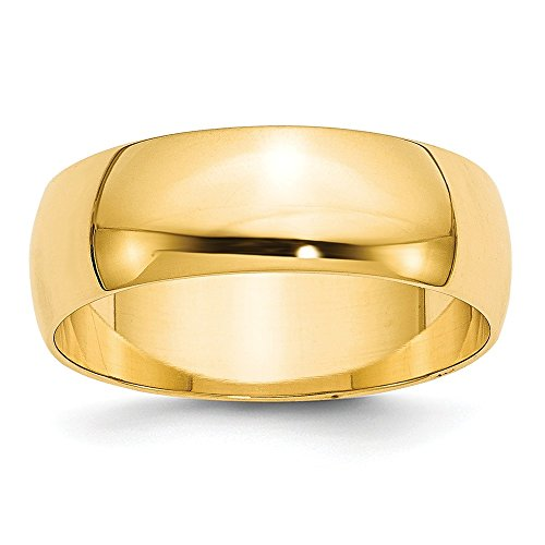 Jewelry Stores Network Solid 14k Yellow Gold 7 mm Rounded Wedding Band Ring