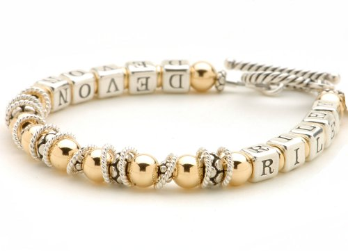 14k Gold-filled & Sterling Silver Bead Personalized Bracelet ()