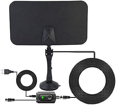 U&TE HD Antena de TV Digital, AN-1001 5dBi / 25dBi Antena HDTV Cubierta con la Etiqueta engomada del Lado Doble, VHF170-230 / UHF470-862MHz (Color : Black): Amazon.es: Electrónica