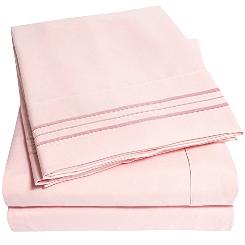 1500 Supreme Collection Extra Soft RV Queen Sheets Set, Pale Pink – Luxury Bed Sheets Set With Deep Pocket Wrinkle Free Hypoallergenic Bedding, Over 40 Colors, RV Queen Size, Pale Pink