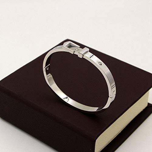 (HUSHOUZHUO Women Jewelry Love Screw Lock Bracelets & Bangles Women Jewelry Stainless Steel Belt Buckle Bracelets Rose Gold)